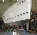 Hunter 216 With Bottom Job Completed In Snug Service Bay.